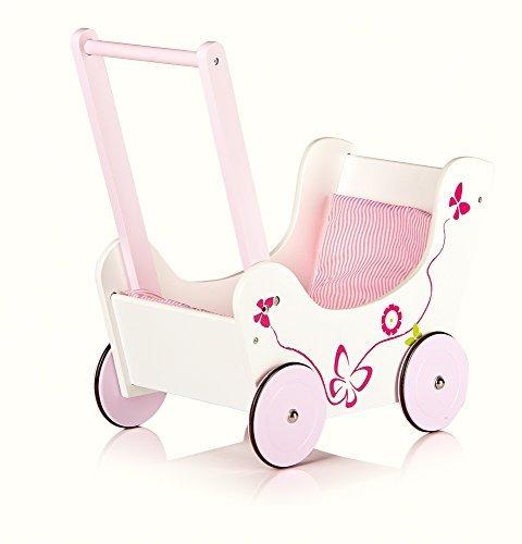 Classic wooden pram dolls buggy with bedding Pushchair Children Girls baby walker by Leomark