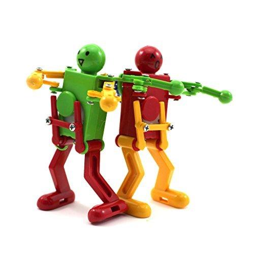 VANKER 2Pcs Random Color Children Kids Clockwork Wind Up Plastic Dancing Robot Development Toy Gift