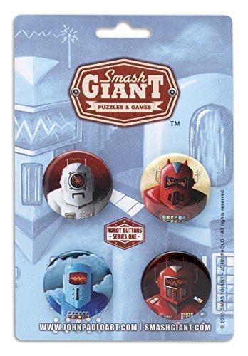 Robot Button 4 Pack Set - 125 - Series 1 - Smash Giant - Tin Robot