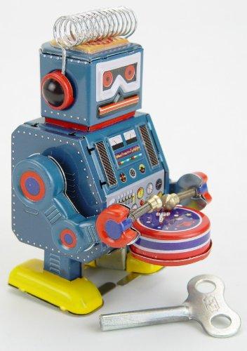 Vintage Style 35 Tin Robot Drummer Mini