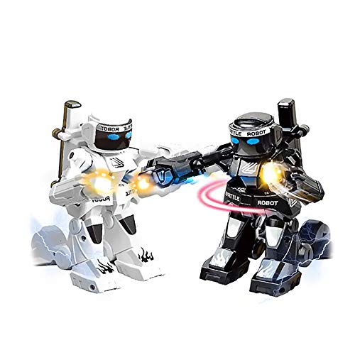 Sacow 2PC RC Battle Boxing Robot Toys Remote Control 24G Humanoid Fighting Robot Two Control Joysticks Real Boxing Fight Experience Black White