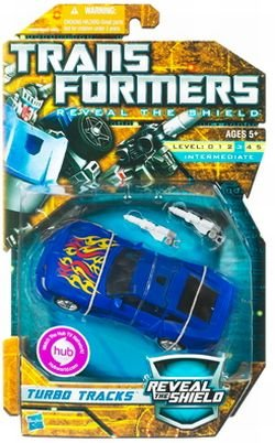 Transformers Reveal The Shield Series Deluxe Class 6 Inch Tall Robot Action Figure - TURBO TRACKS with 2 Converting Blasters Vehicle Mode Sports Car