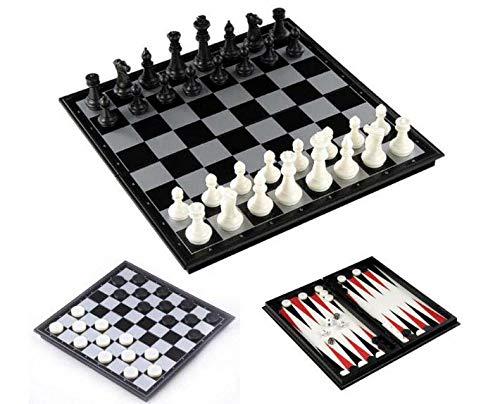 3-in-1 Chess Checkers Backgammon Combination of 3 Games 1 Extensible Box - Chess Checkers Backgammon 13x13 Inch Board