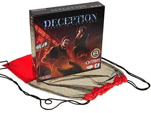 Deception Murder in Hong Kong Board Game for 4 to 12 Players _ Bonus Black MeshRed Nylon Drawstring Carry Bag _ Bundled Items