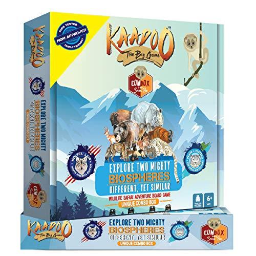 KAADOO Explore Two Mighty Biospheres-Himalaya-Wildlife Safari Adventure-Educational Family Fun 2-in-1 Combo Board Game for 6 Year Old 2-4 Players