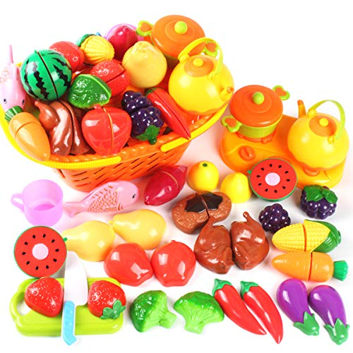 AMOSTING Kids Pretend Food Play Kitchen Toys for Kids Plastic Food Fruit Cutting Set for Kids Play Kitchen Set 37 Piece Kitchen Play Food for Kids Learning Gifts Early Educational Toys
