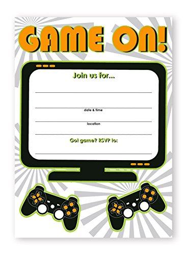 Gaming Party Invitations - 10 Invitations  10 Envelopes