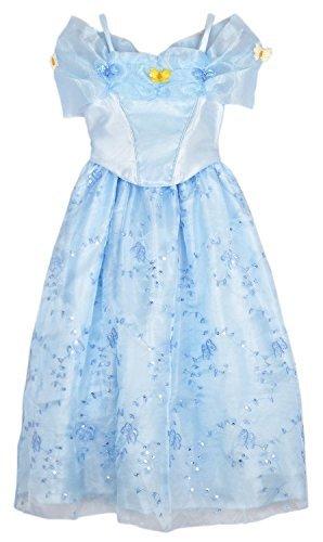 2015 NEW Cinderella dress blue princess dress Costume for girls Color 1 Piece Blue Size 110cm Model D001-96-110cm Toys Games for Kids Child