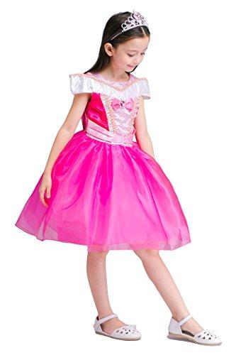 YMING Girls Pink Princess Cosplay Dress Halloween Sleeping Beauty Costume 5-6 Years