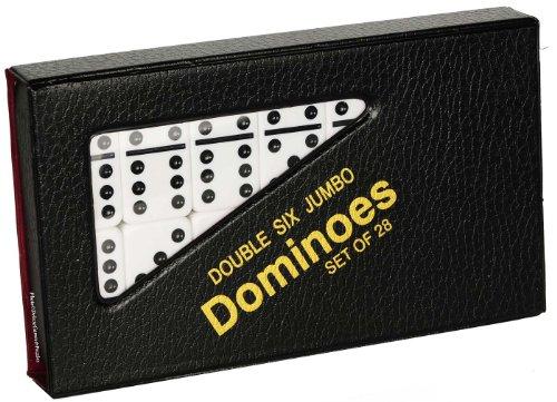 Dominoes Jumbo WHITE with Black Pips _ Double Six Set of 28
