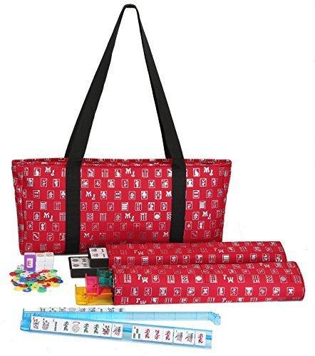 Mah Jongg Full Set Red Designer Logo Soft Case with 166 White Tiles and Four Color Pusher Racks