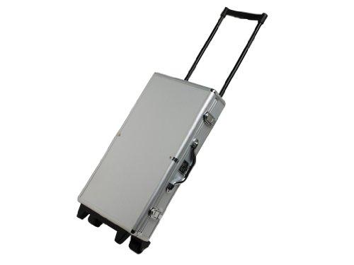 White Swan Mah Jongg Set - Wheeled Aluminum Case - Ivory Tiles Modern Pusher Arms Silver American Mahjong