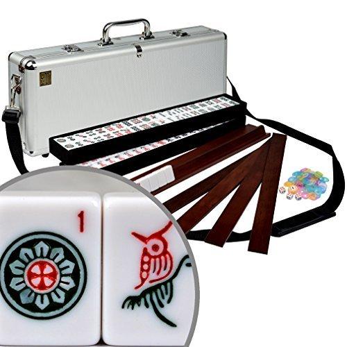 American Mahjong Mah Jongg Mahjongg 166 Tiles All-in-One Racks  Pushers Set - Elemental with Aluminum Case by Yellow Mountain Imports
