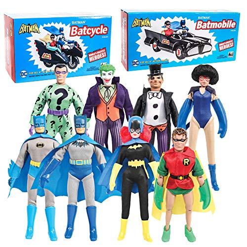 Figures Toy Company Batman Retro Action Figures Series Special Deal 01 with Batcycle Batmobile 8 Loose Figures