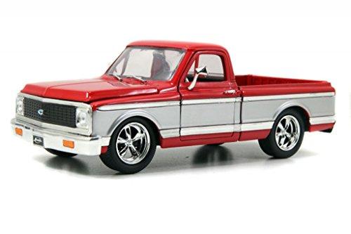 Jada 1972 Chevy Cheyenne Pickup Truck 124 Scale Diecast Model Car RedSilver