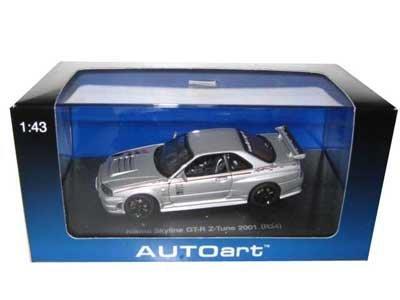 Nissan Skyline GT-R Z Tune R34 2001 Silver 143 Autoart Diecast Car Model by AUTOart
