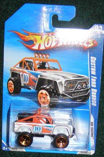 HOT WHEELS 2010 HW RACING WHITE WORANGE ROLL BARS 03 OF 10 CUSTOM FORD BRONCO