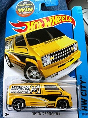 Hot Wheels Custom 77 Dodge Van Yellow and Black Mooneyes 20250