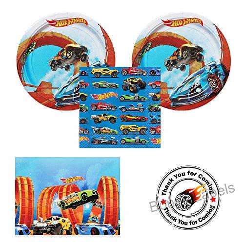 Hot Wheels Wild Racer party supplies - 16 guests - cake plates napkins tablecover plus bonus labels