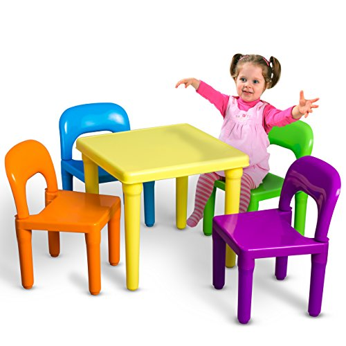 Children and Kids Table and Chairs Set  Includes 4 Plastic Chairs and 1 Art Craft Study Activity Table - Living Room Furniture - Picnic Table - Educational Learning Set - BPA FREE
