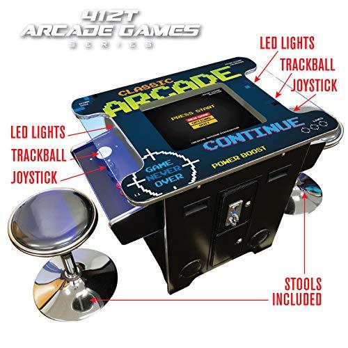 Creative Arcades Full-Size Commercial Grade Cocktail Arcade Machine  Trackball  412 Classic Games  2 Sanwa Joysticks  2 Stools  19 Screen  3-Year Warranty  Square Glass Top