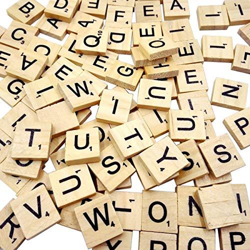 100 PCS Scrabble Tiles Games Wood Letters A-Z Capital Letters for Crafts Pendants Spelling
