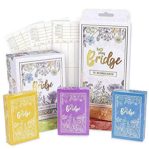 Lets Play Bridge  Complete Classic Card Game Scorecard Bundle Set  6 Unique Colorful Decks  Includes 100 Scorecards for Couples Game Night and Competitive Family Fun