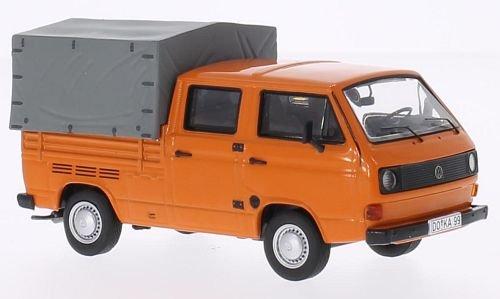 VW T3a DoKa flatbed platform trailer orange Model Car Ready-made Premium ClassiXXs 143