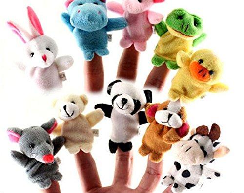 MissAJ 10pcs Mini Plush Cartoon Animal Velvet Finger Puppet Finger Toy Finger Doll Baby Cloth Educational Hand Toy Story Kids Birthday Christmas Gifts