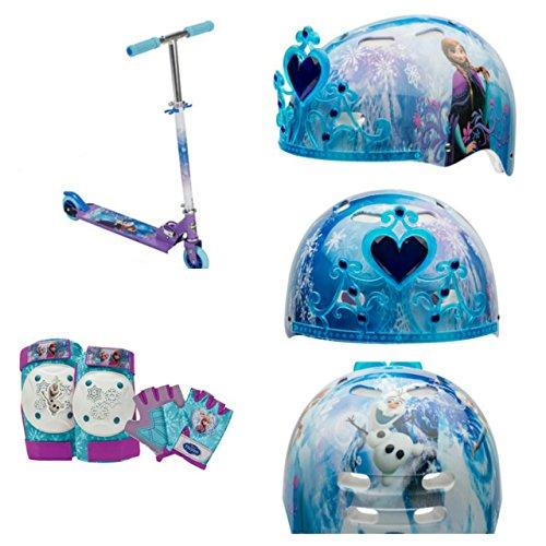Disney Frozen Girls Scooter 8piece Set with Frozen Scooter Elbowknee Pads Glovesand Safety Helmet