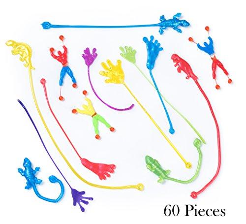 Bulk Toys - Party Favors - 60 Pc Wacky Fun Stretchy Sticky Fingers Toy Assortment Includes Large Glitter Sticky Hands 12 Sticky Feet Dinosaurs Wall Climbing Men Sticky Lizards Toys for Kids