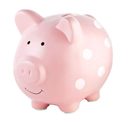 Pearhead Ceramic  Pink Piggy Bank Makes a Perfect Unique Gift Nursery Décor Keepsake or Savings Piggy Bank for Kids Pink