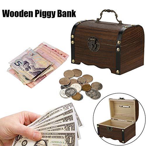 Fineday Piggy Bank Wooden Piggy Bank Safe Money Box Savings with Lock Wood Carving Handmade
