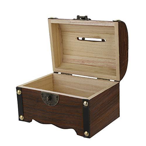 Libobo Wooden Piggy Bank Safe Money Box Savings with Lock Wood Carving Handmade