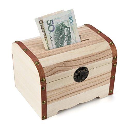 Nevera Wooden Piggy Bank Safe Money Box Savings with Lock Wood Carving Handmade Khaki