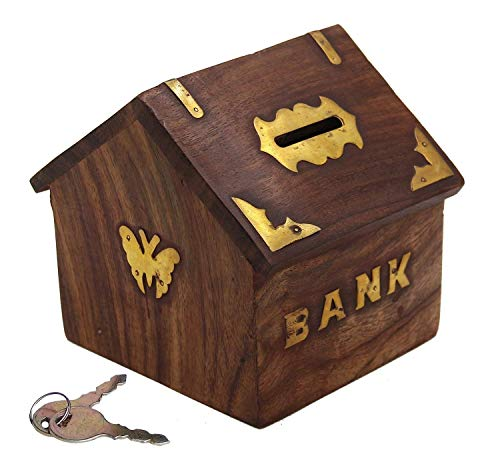 Wooden Money Bank for Kids Coin Storage Hut Shape Decorative Piggy Bank Handmade Wooden Coin Box Wooden Piggy Box Money Saver Box for Adults