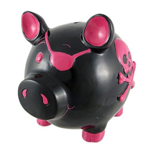 Large Black  Hot Pink Skull Crossbones Pig Piggy Bank Pirate