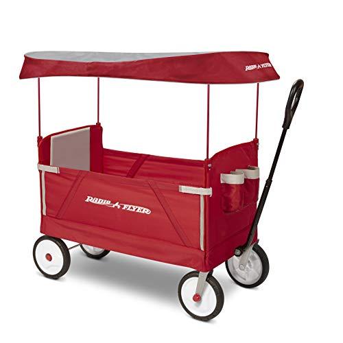 Radio Flyer 3951Z 3-In-1 Ez Folding Wagon with Canopy For Kids Cargo Red