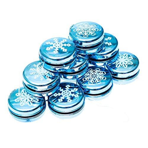 1 Dozen Mini Metallic Snowflake Yo-yos - Christmas Party Supplies