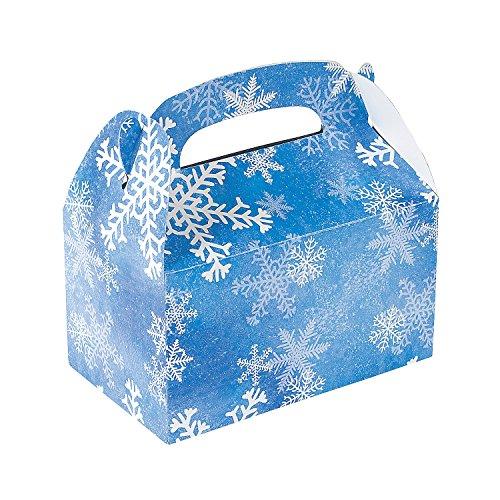 1 Dozen Winter Snowflake Treat Gift Boxes - Christmas Party Supplies