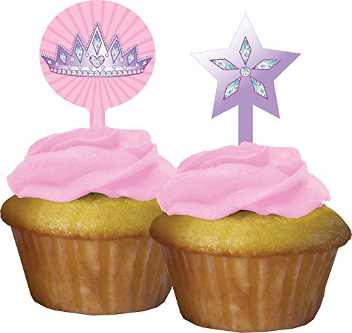 Creative Converting 12 Count Princess Party Cupcake Topper Pink