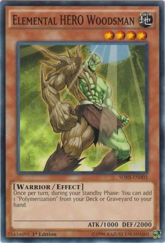 Yu-Gi-Oh - Elemental HERO Woodsman SDHS-EN003 - Structure Deck HERO Strike - 1st Edition - Common