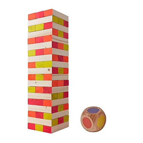 Black Light Tower Wooden Block Glowing Blocks Stacking Gam (54Pieces