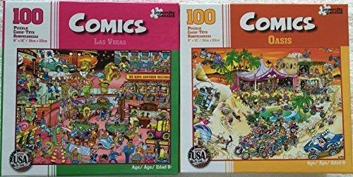 Bundle Lot of 2 Comics 100 Piece Jigsaw Puzzles by Papercity Puzzles Las Vegas ~ Oasis