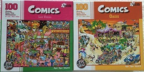 Bundle Lot of 2 Comics 100 Piece Jigsaw Puzzles by Papercity Puzzles Las Vegas ~ Oasis by Comics Puzzles