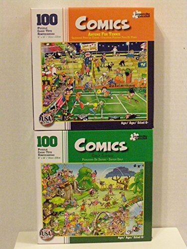 Bundle of Two Comics 100 Piece Jigsaw Puzzles Including Anyone for Tennis Golf Safari by Papercity Puzzles finished puzzle measures 9x12