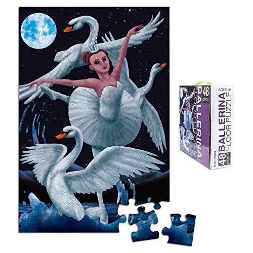 Floor Puzzles for Kids - 48-Piece Giant Floor Puzzle Ballerina Ballet Swan Dancer Jumbo Jigsaw Puzzles for Toddlers Preschool Toy Puzzles for Kids Ages 3-5 2 x 3 Feet