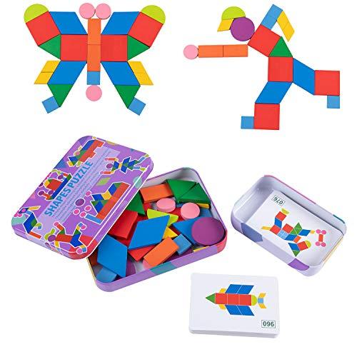 Jamohom Wooden Shape Pattern Blocks Geometric Shape Puzzle Set Classic Educational Montessori Tangram Toys for Kids with 60pcs Design Cards