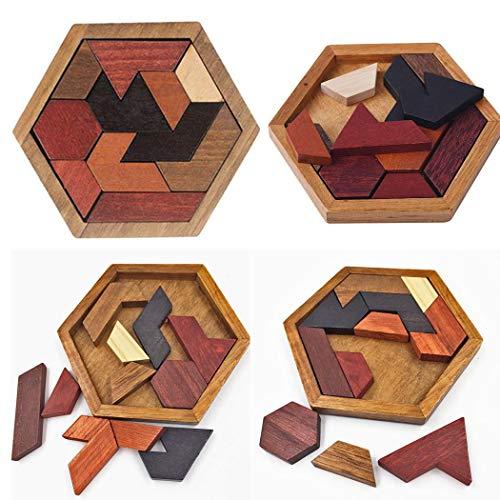 ODlover Cartoon Geometric Shape Wood Puzzle Toys Kids Adult Game Toy Organizers