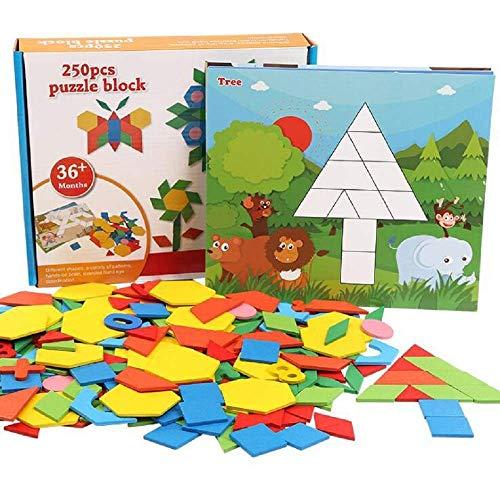 GoodPlay 250 PCS Colourful Wooden Tangram Puzzle Geometric Pattern Matching Building Blocks Intelligence Educational Toys